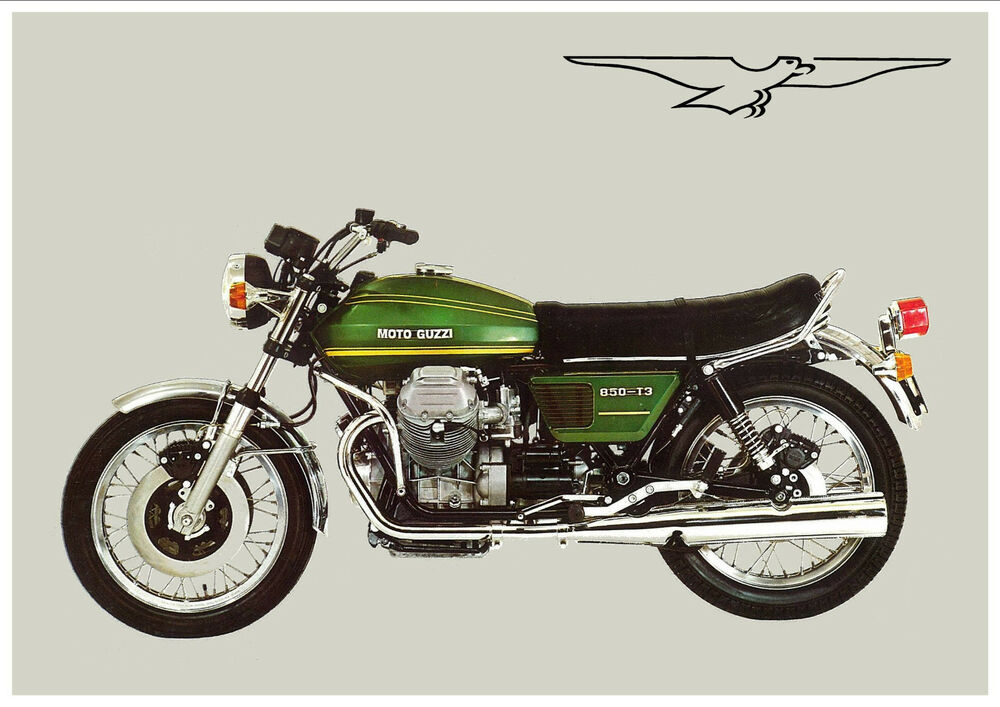 moto guzzi poster 850 t3 green suitable to frame ebay. Black Bedroom Furniture Sets. Home Design Ideas