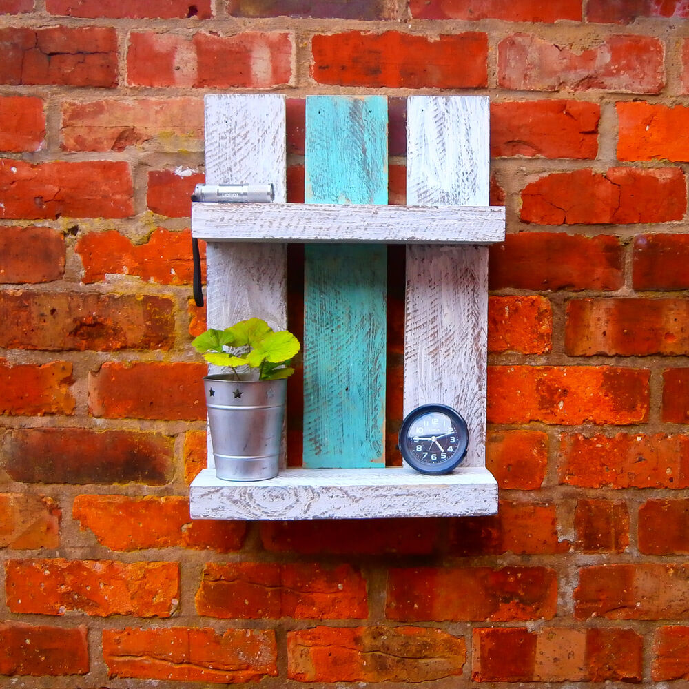 distressed shabby chic recycled pallet wood shelf ebay