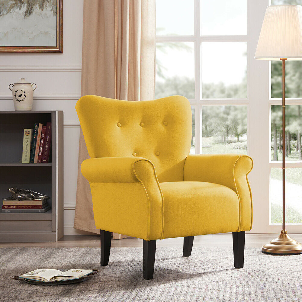 individual chairs for living room arm chair accent single sofa linen fabric upholstered 23574