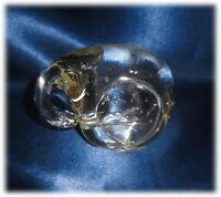 Unique Vintage Clear Glass Elephant with Bubbles Paperweight