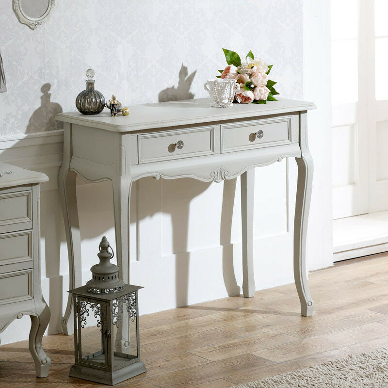 Grey Shabby Chic Bedroom: Grey Wooden Ornate Console Dressing Table Shabby French