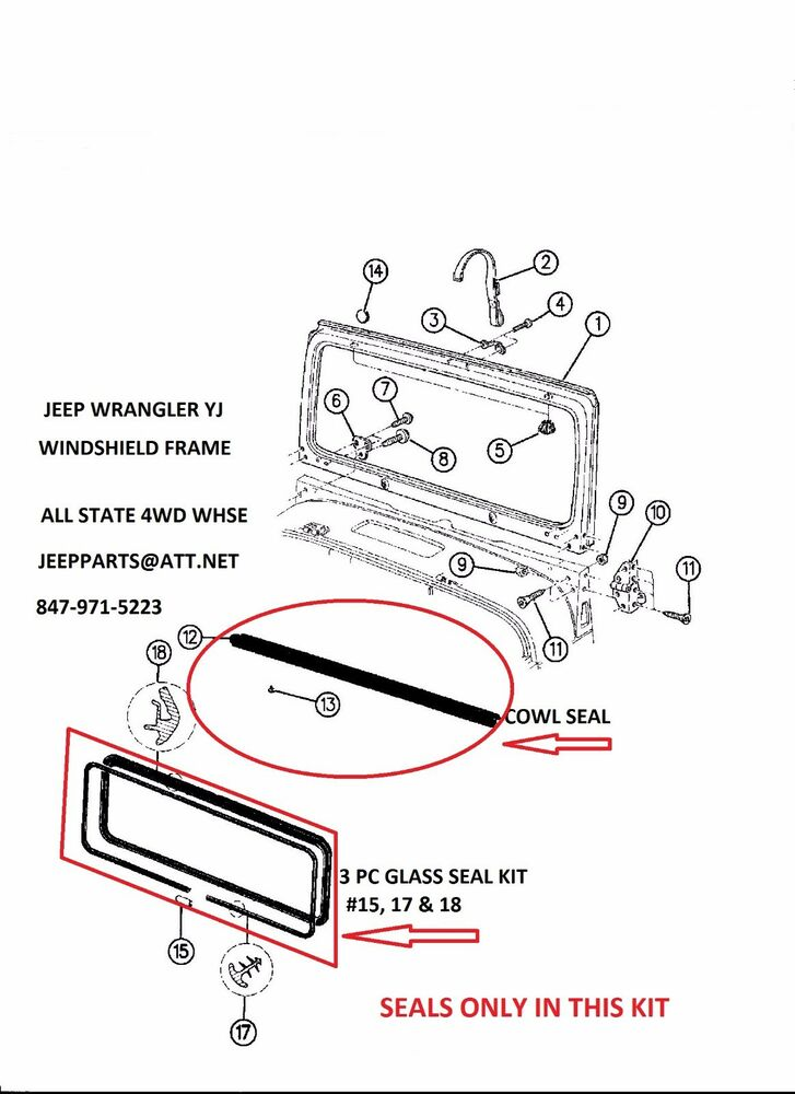 details about jeep wrangler yj 87-95 windshield frame cowl & glass seals  4pc kit