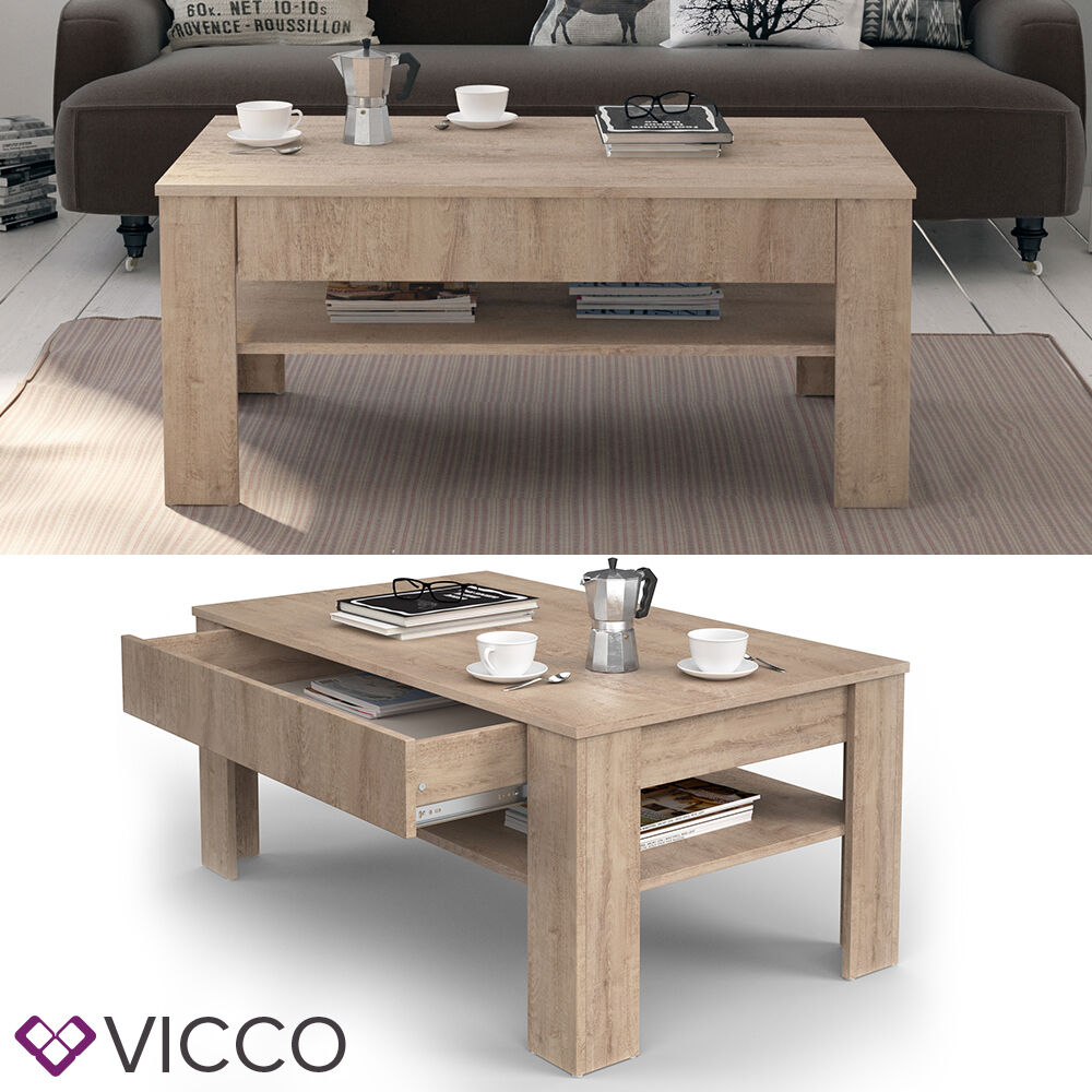 vicco couchtisch 110 x 65 cm eiche sonoma beistelltisch. Black Bedroom Furniture Sets. Home Design Ideas
