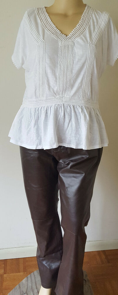 7425d15cf84b9 Details about Jessica London Womens Leather Pants Chocolate Brown Size  Choice Plus