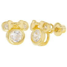 18k Gold Plated Clear CZ Little Mouse Screw Back Earrings Childrens Girl