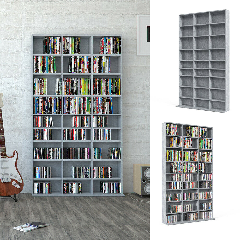 vicco cd dvd bluray regal medienregal standregal regalwand b cherregal grau ebay. Black Bedroom Furniture Sets. Home Design Ideas