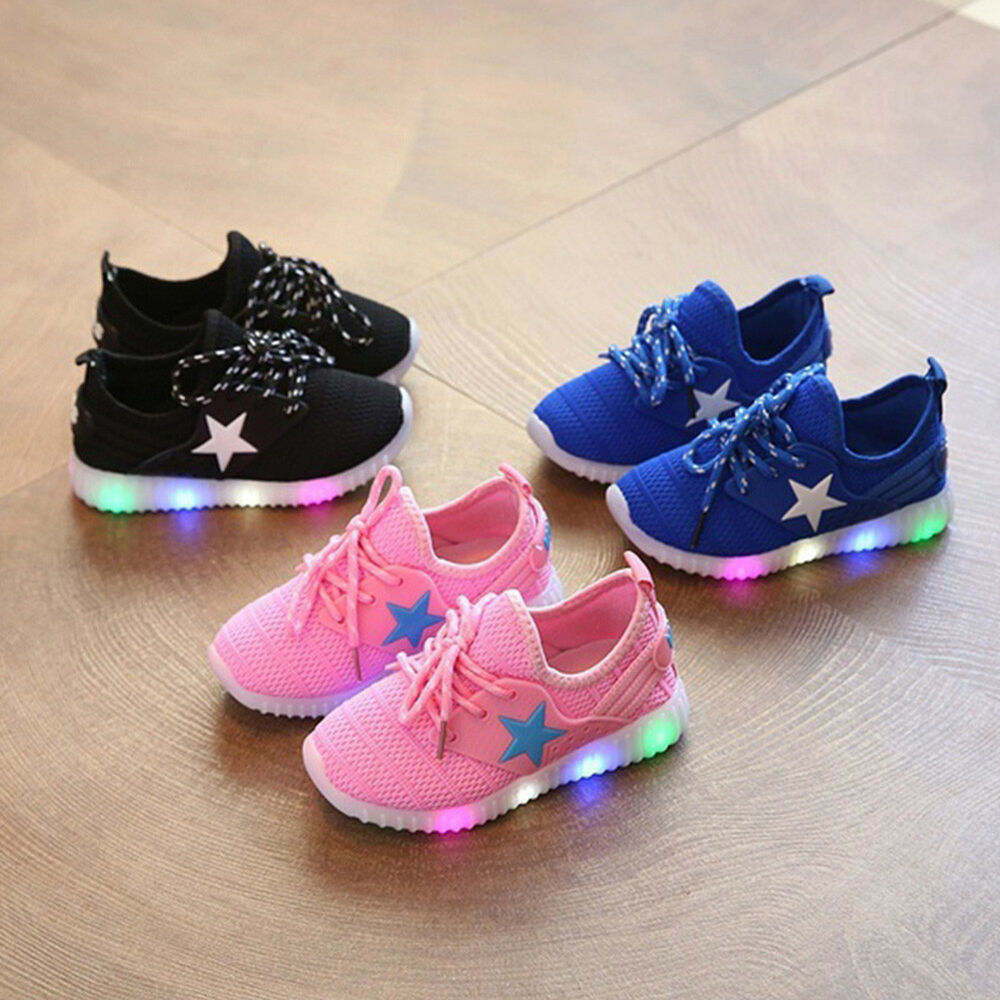 a55598375eb99 Children Boys Girls Kids LED Light Up Sneakers Baby Toddler Running Shoes