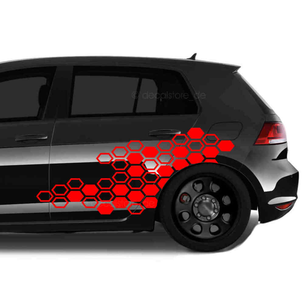 gti autoaufkleber wabenmuster sticker set dekor tuning. Black Bedroom Furniture Sets. Home Design Ideas