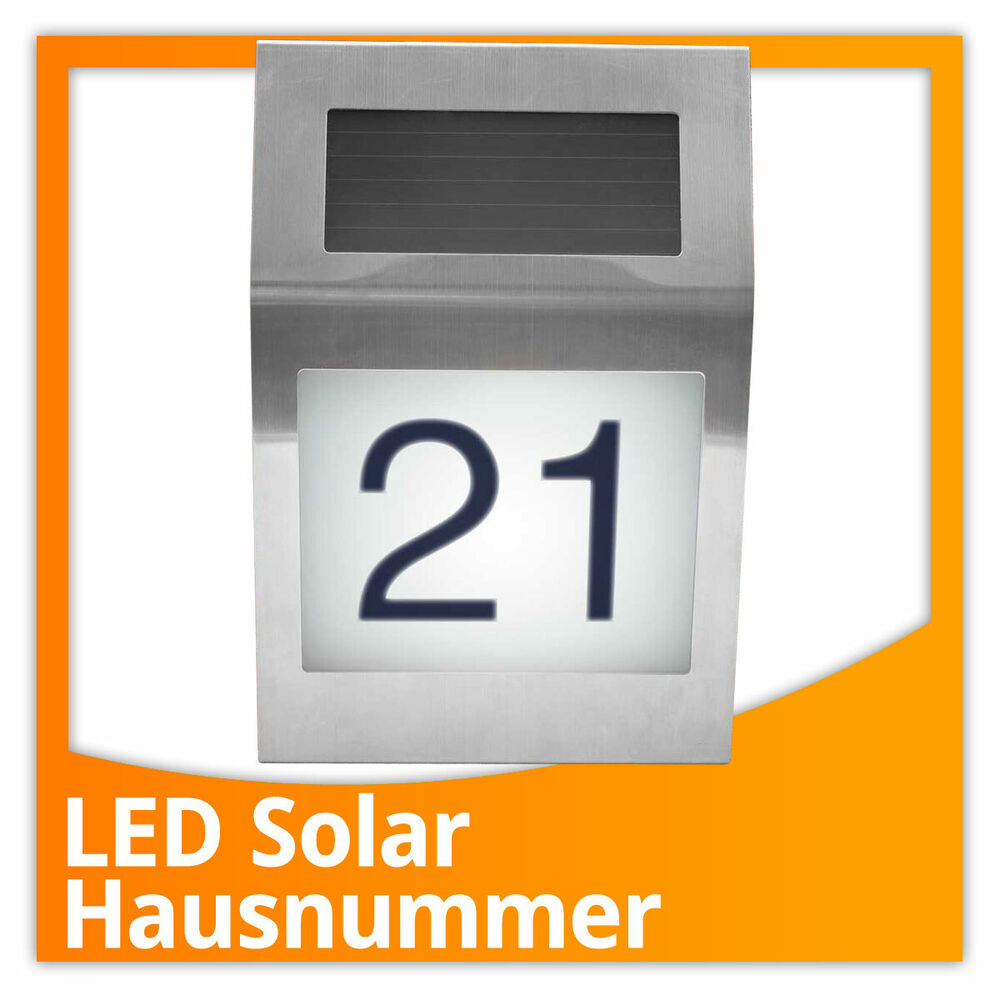 edelstahl led hausnummer beleuchtet mit solar hausnummerleuchte solarlampe ebay. Black Bedroom Furniture Sets. Home Design Ideas