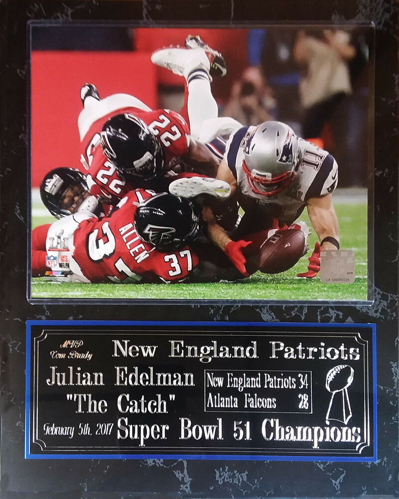 New England Patriots Super Bowl LI Champions Plaque Julian Edelman The Catch