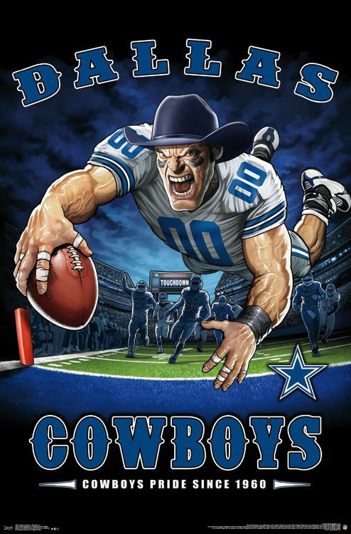 innovative design 88bd3 f61be Details about Dallas Cowboys COWBOYS PRIDE SINCE 1960 End Zone TD Dive NFL  Art POSTER