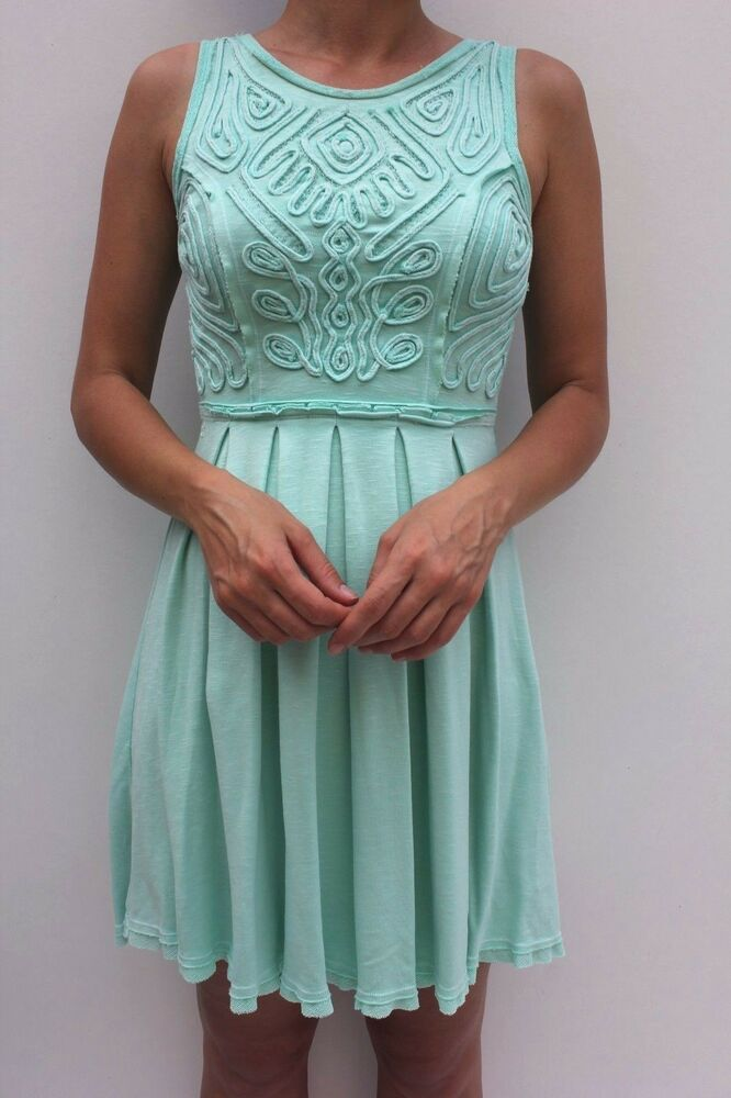 f7012047b4 Details about Free People Green Embroidered Beaded Pleated Skater Dress XS  8 36 US 4 New