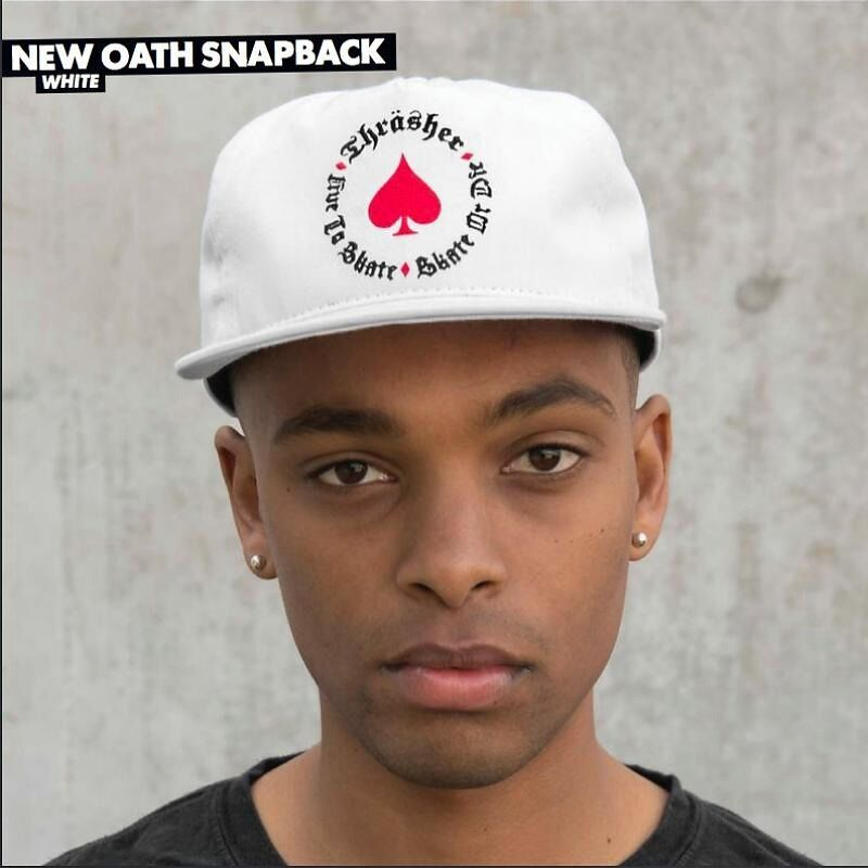 d1c8ba552fa Details about Thrasher Magazine UNSTRUCTURED OATH Snapback Skateboard Hat  WHITE BLACK RED