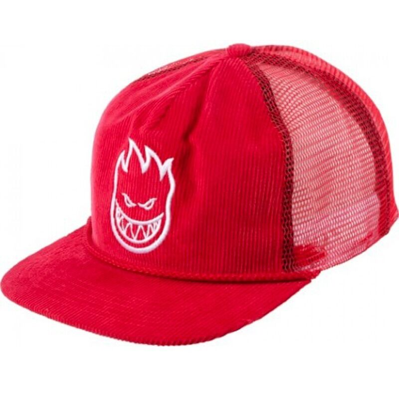 a14e24d5bb5d5 Details about Spitfire Wheels BIGHEAD UNSTRUCTURED Trucker Hat CORDUROY  RED WHITE