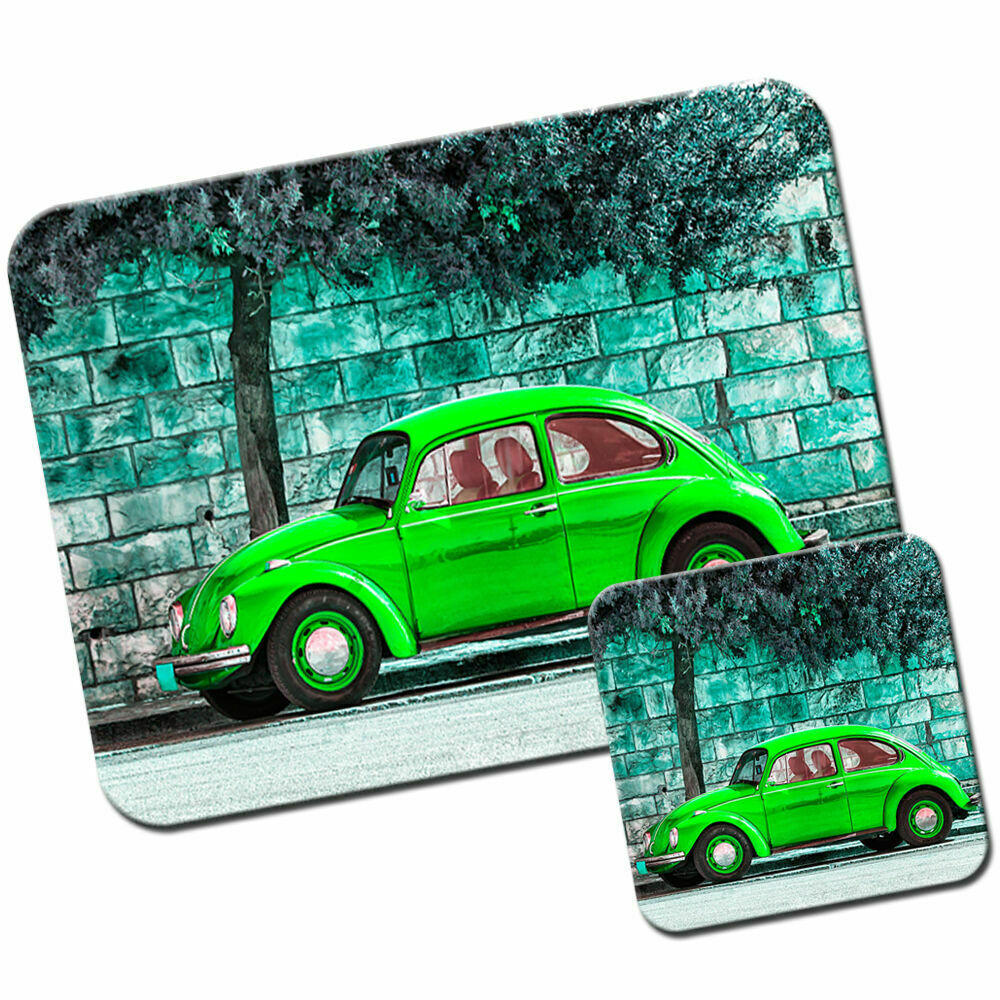 Details About Old Clic Green Beetle Car Mouse Mat Pad Coaster