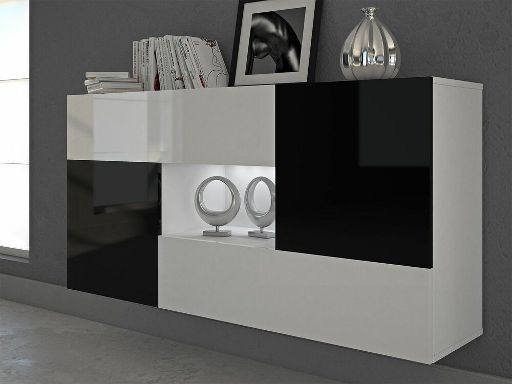 h nge kommode sideboard anrichte schrank alfa hochglanz wei schwarz soft close ebay. Black Bedroom Furniture Sets. Home Design Ideas