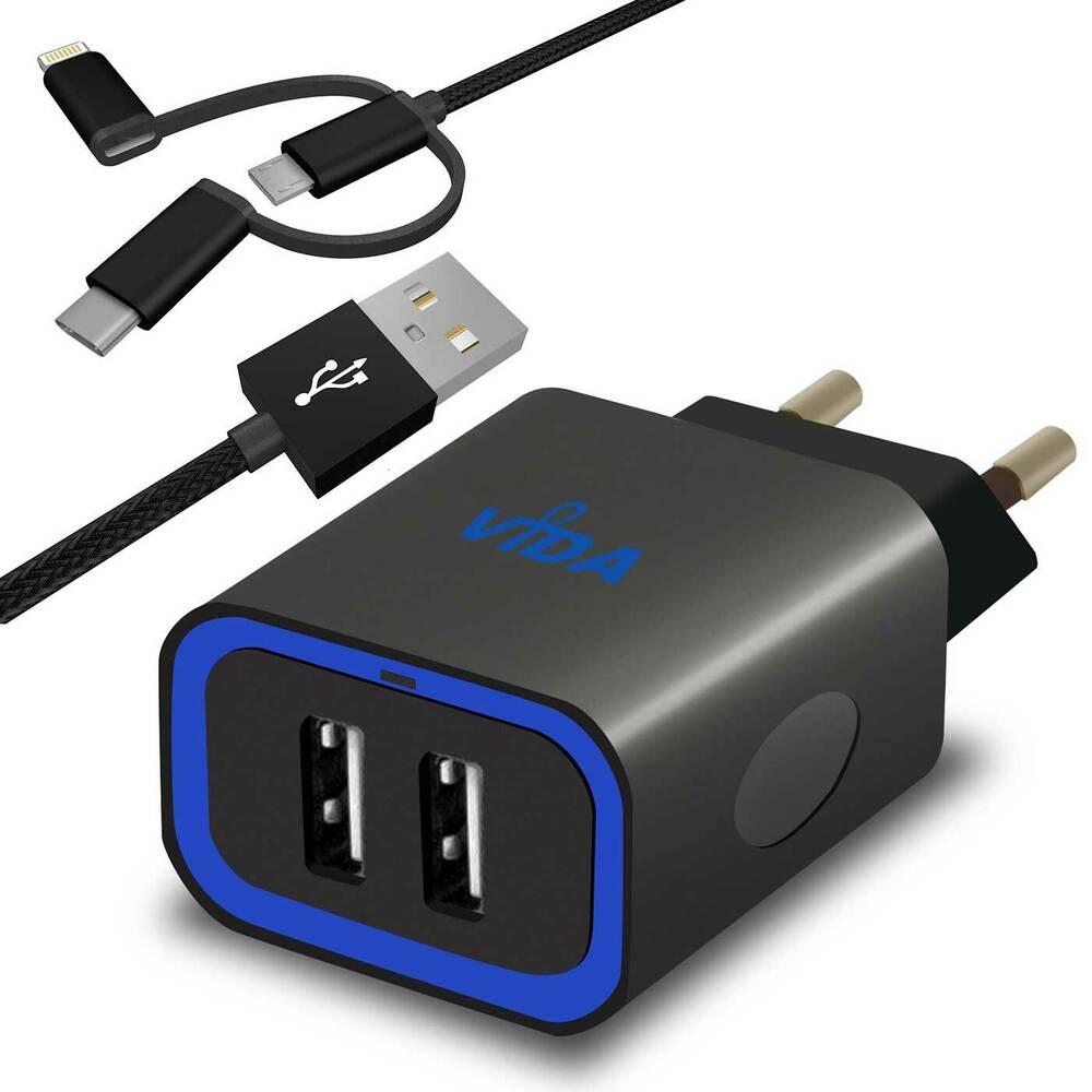 rapid multi double dual port usb wall charger eu plug 12w. Black Bedroom Furniture Sets. Home Design Ideas