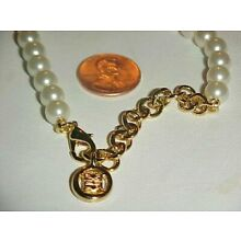 1 VINTAGE GIVENCHY PEARL BEADED GOLD CLASP & TAIL PENDANT READY NECKLACE  L377