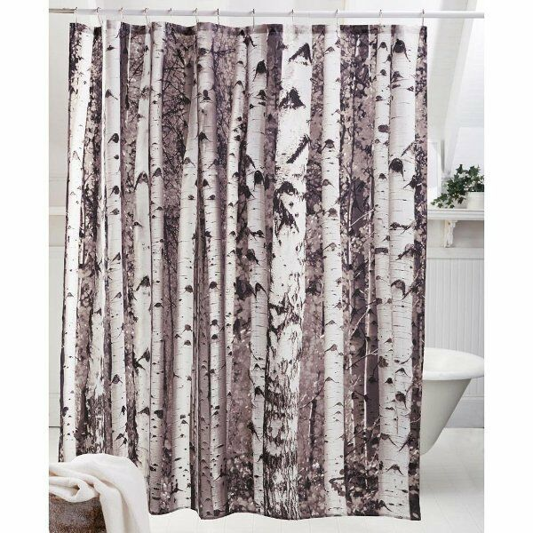 Details About Kikkerland SHOWER CURTAIN BIRCH Tree Forest Polyester BATHROOM Gift
