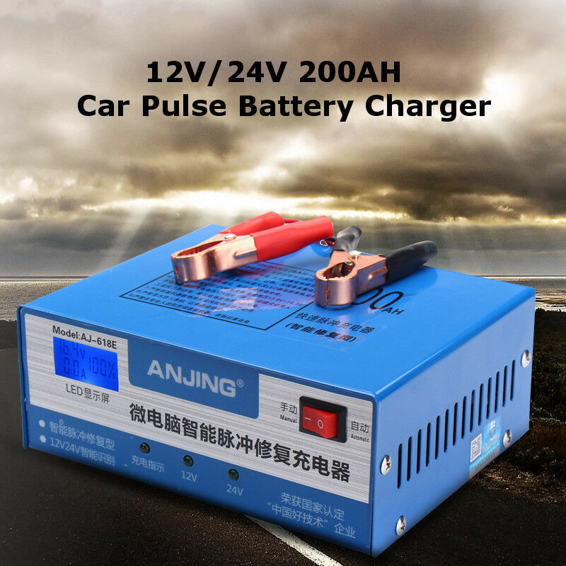 12 24v 200ah 220w plomb acide batterie chargeur led affichage pour voiture moto ebay. Black Bedroom Furniture Sets. Home Design Ideas