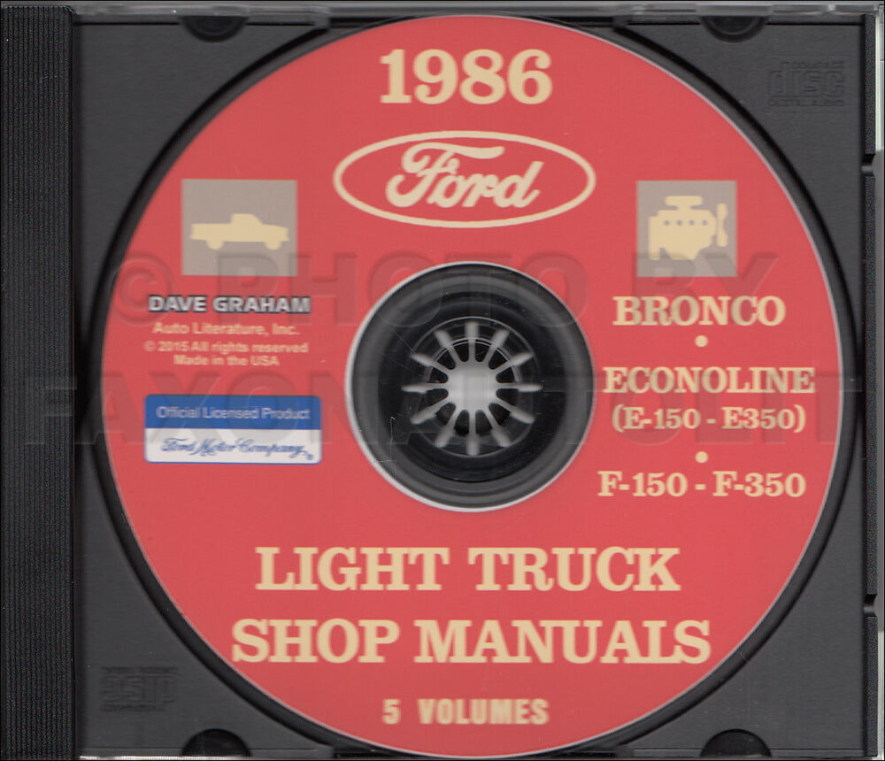 1986 Ford Truck Shop Manual 5 Book Set on CD F150 F250 F350 Bronco Van  Service | eBay