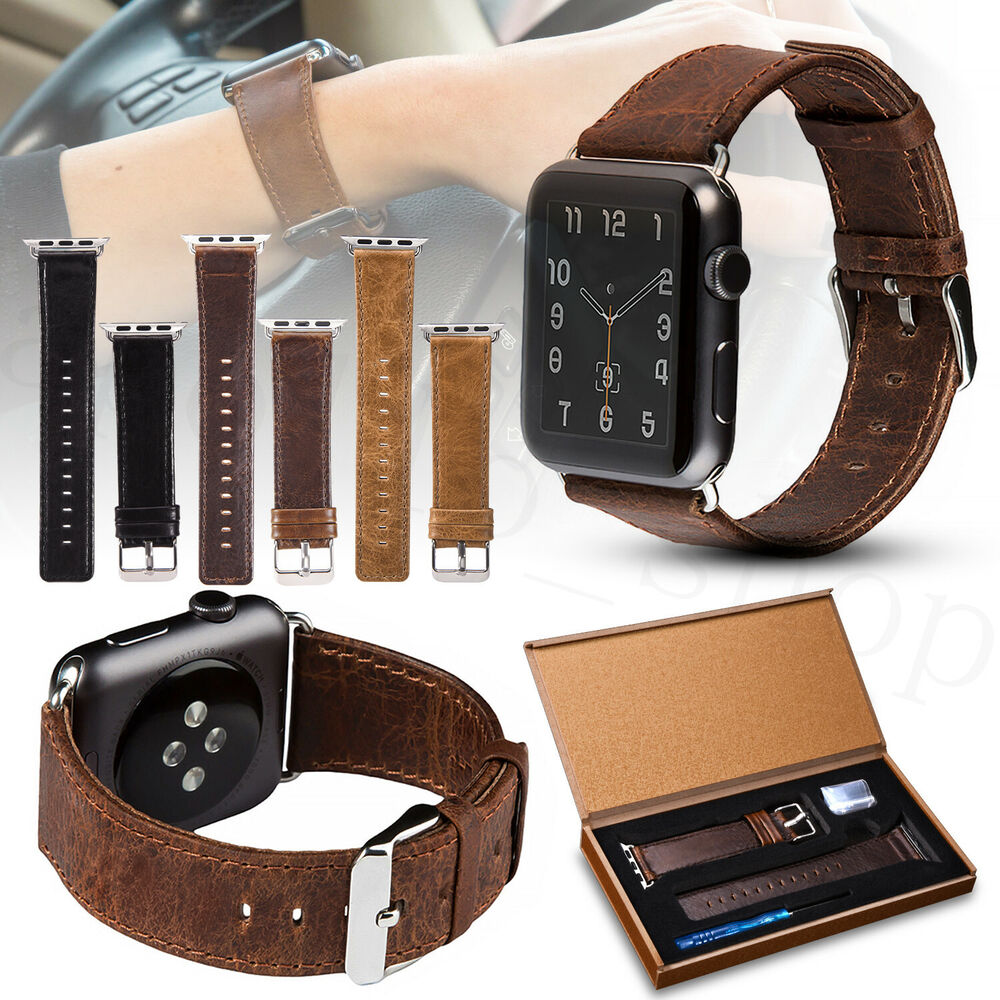 Genuine Leather Wrist Band Strap For Apple Watch 1/2/3/4