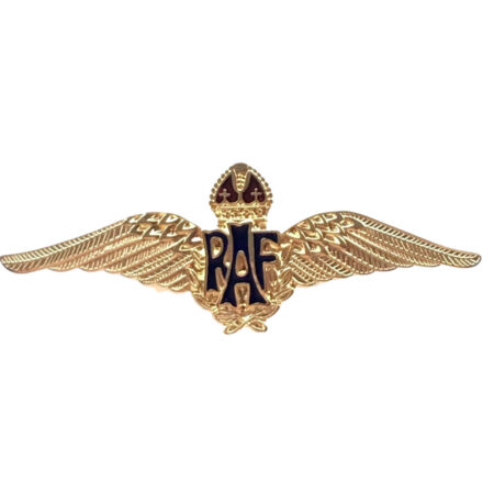 img-MOD Approved RAF Royal Air Force Bright Gold Sweetheart Wings Brooch Badge