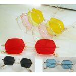 Color or Clear Hexagon Lens Glasses _ Lightweight Gold Metal Frame Sunglasses
