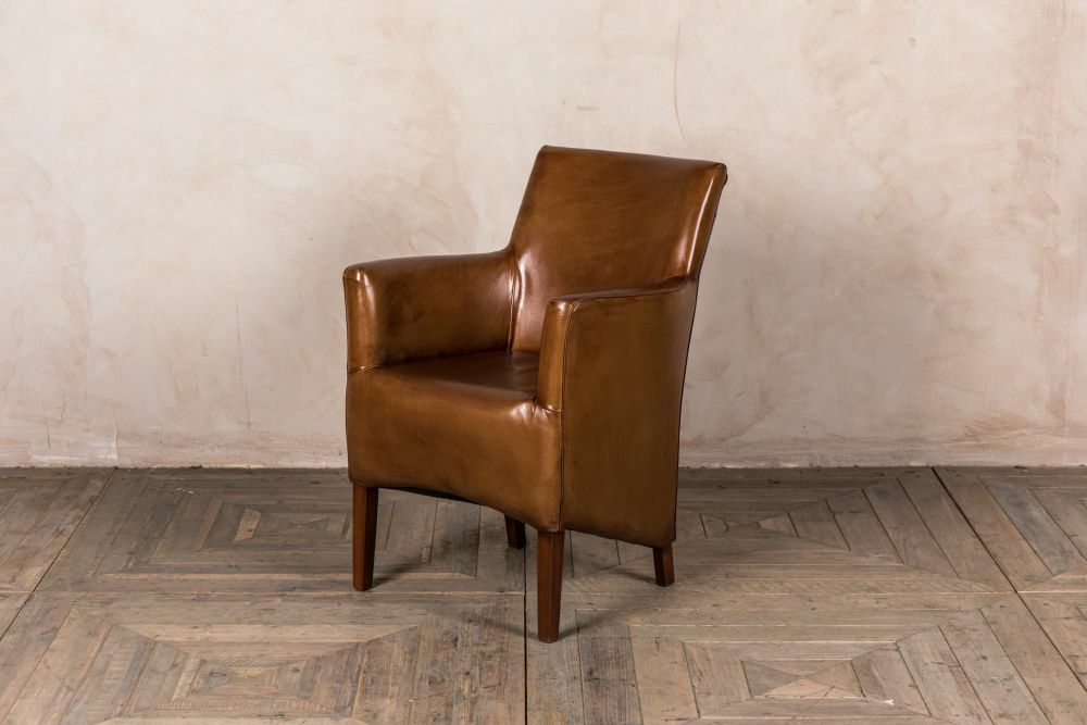 TAN LEATHER ANTIQUE STYLE ARMCHAIR VINTAGE STYLE DINING ...
