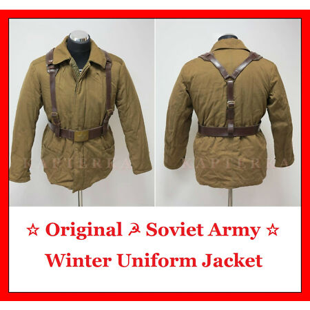 img-☆ Original ☭ Soviet Russian Red Army Winter Uniform Jacket + Belt + Suspenders ☆