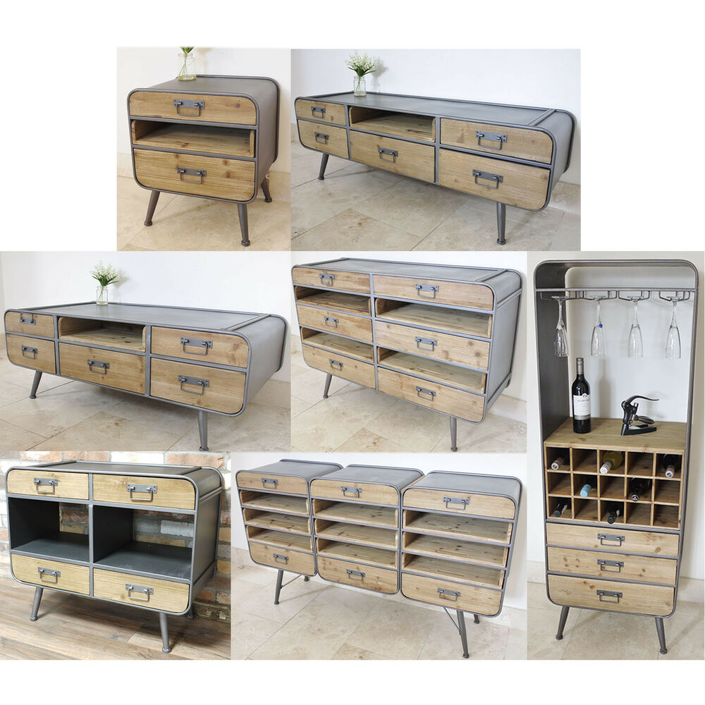 Retro Industrial Storage Cabinets TV Display Coffee Table