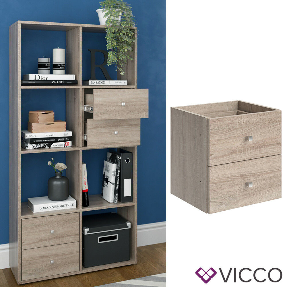 vicco schubladeneinsatz scutum sonoma eiche b cherregal w rfelregal raumteiler ebay. Black Bedroom Furniture Sets. Home Design Ideas