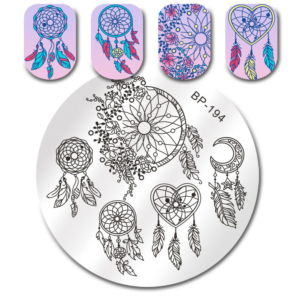 Details About Born Pretty Nail Stamping Plates Dream Catcher Feather Heart Art Templates