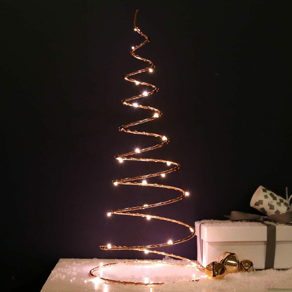 Battery Operated Outdoor Christmas Trees: 30cm Battery Power LED Copper Spiral Christmas Tree