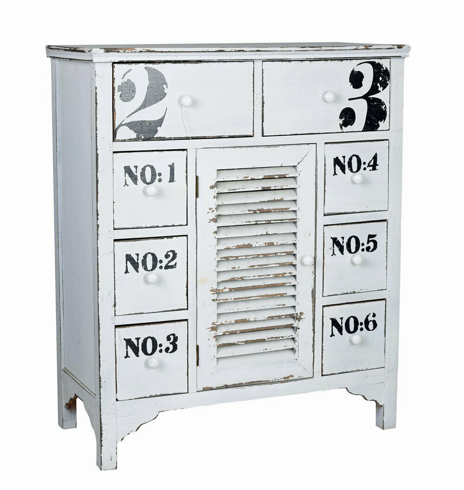 kommode weiss kommodenchrank vintage anrichte shabby chic apothekerschrank antik ebay. Black Bedroom Furniture Sets. Home Design Ideas