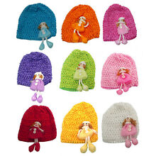 Bella Baby Stretchy Knitted Bonnet Hat with a Doll Ornement U16250-0018