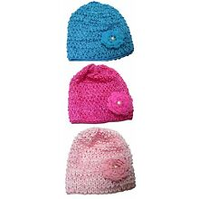 Bella Toddler's Stretchy Knitted Bonnet Hat with Aplique Ornement U16250-6259