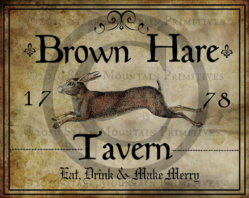 Primitive Colonial Folk Art Brown Rabbit Hare Tavern Sign