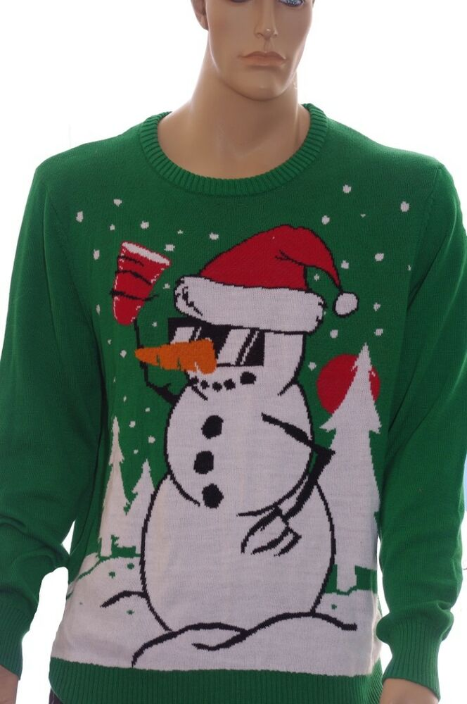 Mens Frosty the Snowman RED SOLO CUP Ugly Christmas Sweater Party L ...