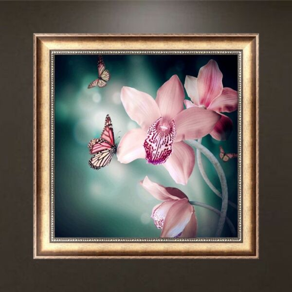 DIY 5D Orchid Diamond Painting Cross Stitch Embroidery Home Wall Decor Craft