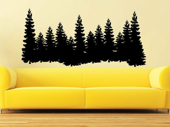 pine trees wall decal forest landscape nature vinyl sticker decals