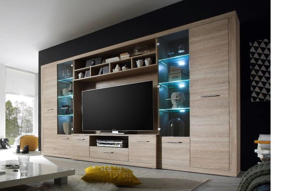 tv hifi media wohnwand eiche sonoma mit led beleuchtung. Black Bedroom Furniture Sets. Home Design Ideas