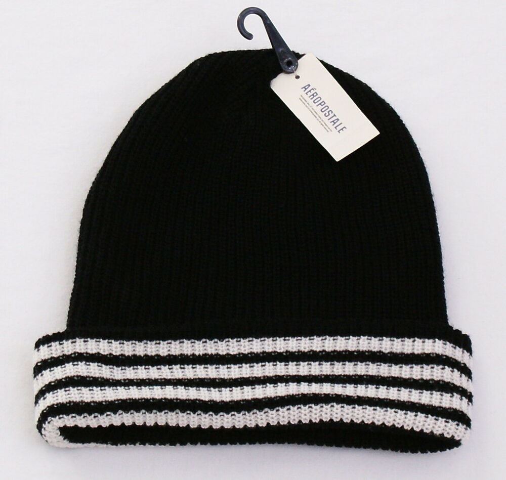 545c005f68c Details about Aeropostale Black   White Knit Cuff Beanie Skull Cap Men s  One Size NWT