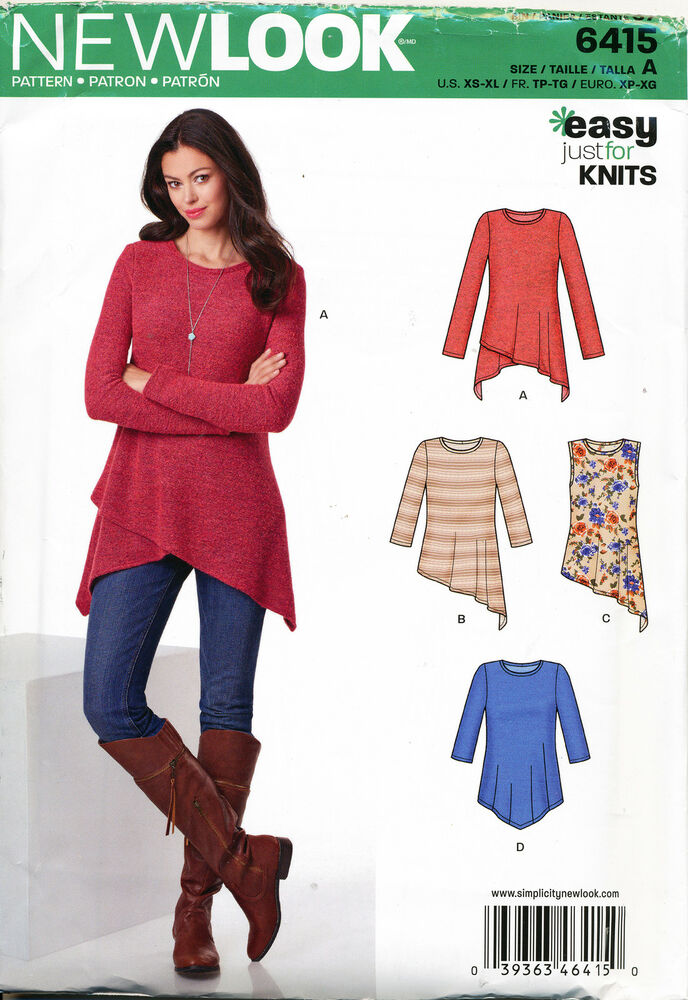 NEW LOOK SEWING PATTERN 6415 MISSES SZ 6-24 EASY TOPS & TUNICS IN ...