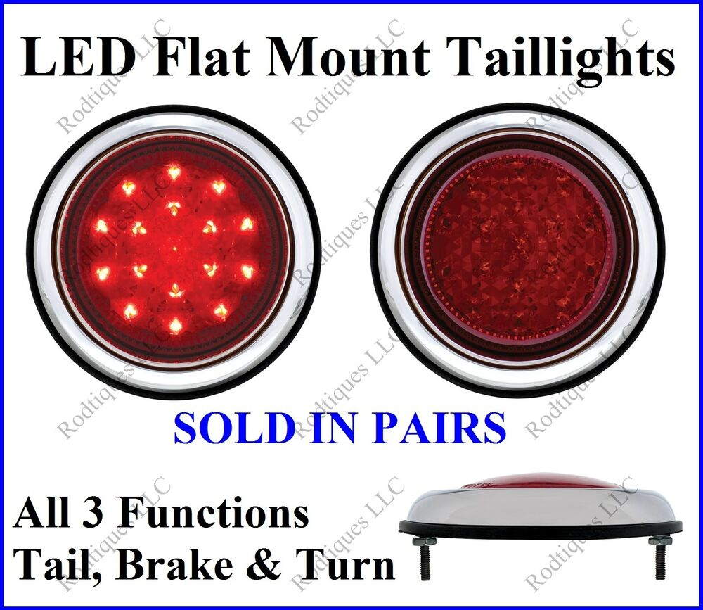Flat Mount Red LED Taillights Turn Signal Brake Light ...