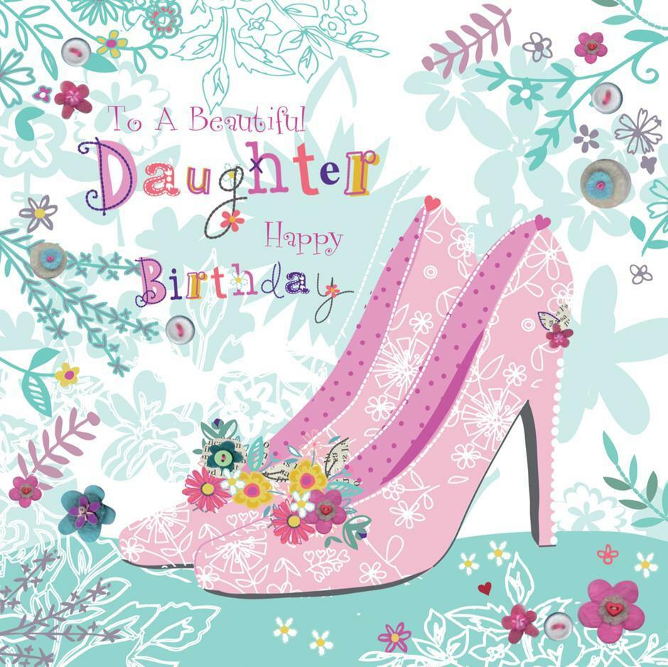 Details About STUNNING GLITTER COATED SHOES TO A BEAUTIFUL DAUGHTER BIRTHDAY GREETING CARD