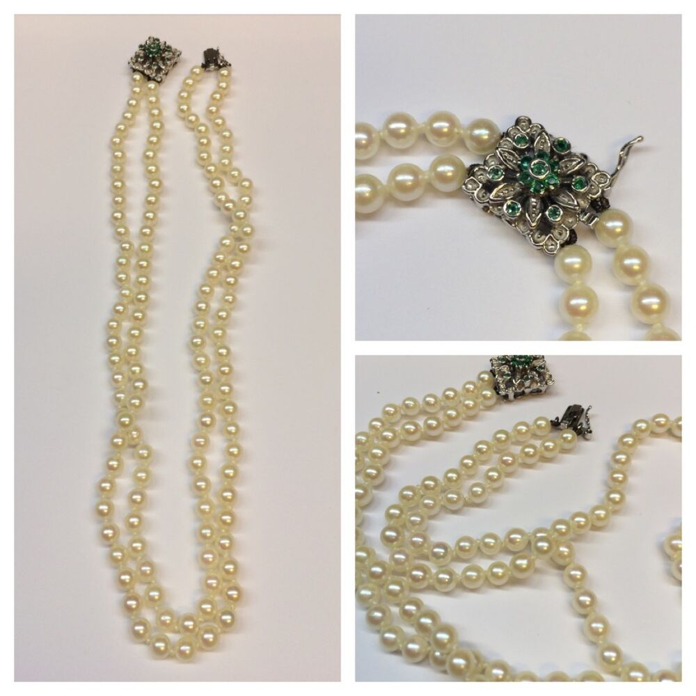 f5e66e61d903d0 Details about Two-Row Akoya Pearl Necklace Pearls Pearl Collier 750 Gold  Closure L 40 cm