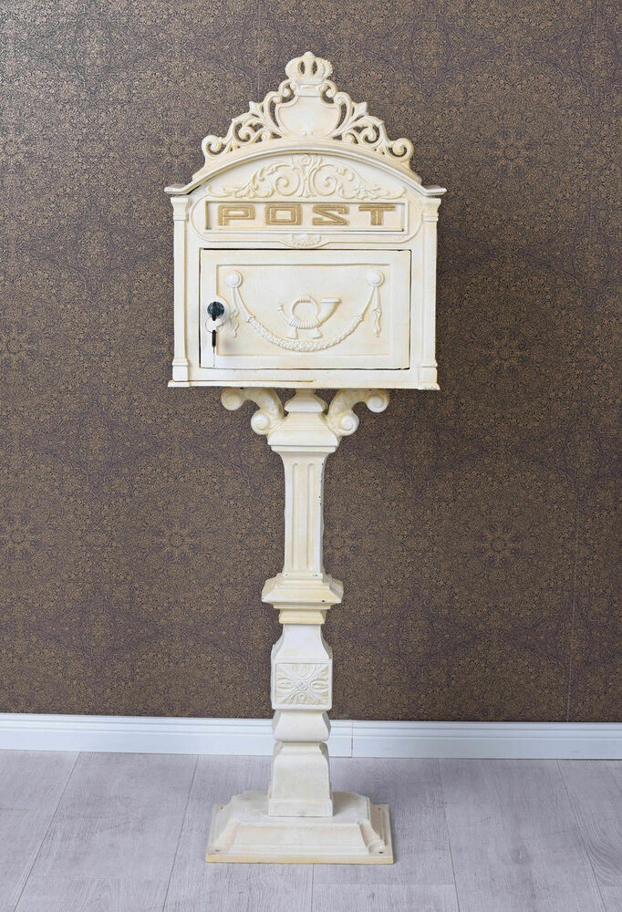 standbriefkasten gusseisen briefkasten antik postkasten 116cm shabby chic weiss 4250399933199 ebay. Black Bedroom Furniture Sets. Home Design Ideas