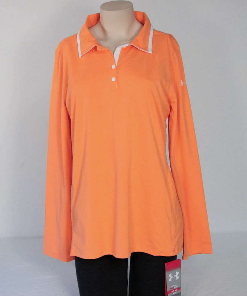 Under Armour Golf Long Sleeve Apricot Loose Fit Polo Shirt Upf 30