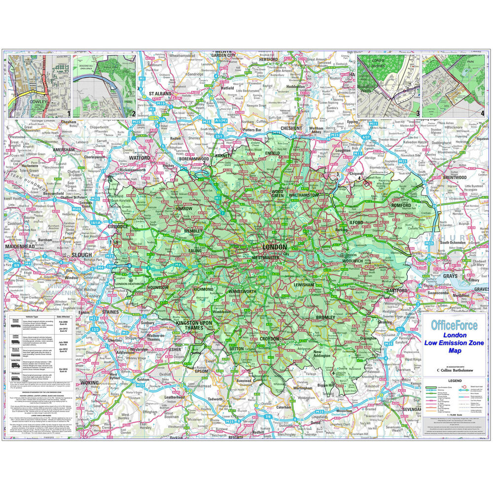 Easy London Map.New Laminated Office Wall Poster Sheet Map Of London With Low